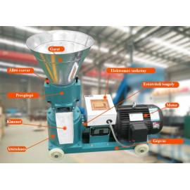 Granuláló, pelletáló gép, síkmatricás, 4kW