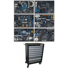 Műhelykocsi, szerszámos szekrény | 7 fiók | motorvezérlés beállító készletek - BGS-4115