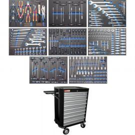 Műhelykocsi, szerszámos kocsi, szerszámos szekrény| 8 fiók | 296 szerszámmal - BGS-4050