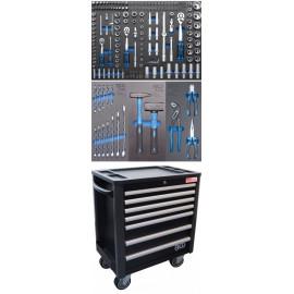 Műhelykocsi | 7 fiók | extra csekély szerkezeti magasság | 209 darab szerszámmal - BGS-4140