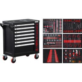 Műhelykocsi, szerszámos kocsi, szerszámos szekrény | 7 fiók | 1 oldalajtó | 250 szerszámmal - BGS-6058