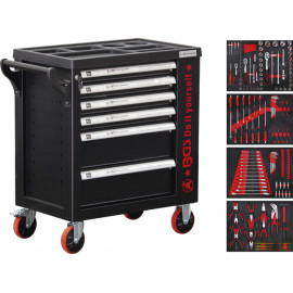 Műhelykocsi, szerszámos szekrény, szerszámos kocsi | 6 fiók | 1 oldalajtó | 158 szerszámmal - BGS-6055