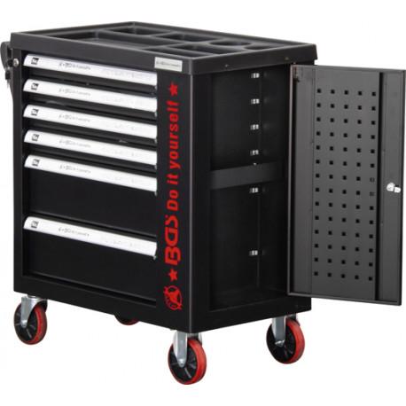 Műhelykocsi, szerszámos kocsi, szerszámos szekrény| 6 fiók | 1 oldalajtó | üres - BGS-6055-1