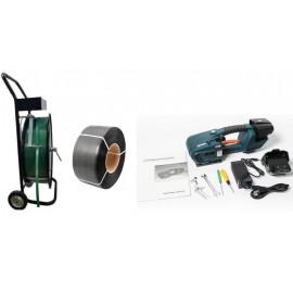 Pántoló csomag (akkumulátoros pántológép, pántszalag tartó kocsi, pántszalag)
